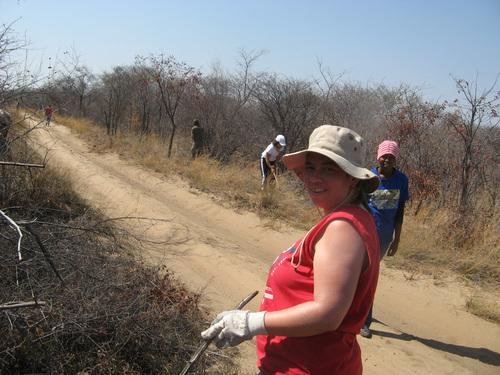 Работата ни се състоеше в прочистване на буша и пътеките от храсти и дървета. Работните ни инструменти бяха ножици, брадви и триони.