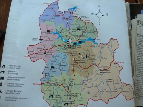 Карта на забележителностите около Кърджали