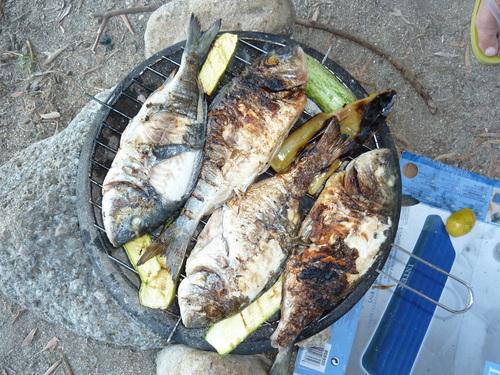 Къмпинг Лихнос, рибка на барбекю