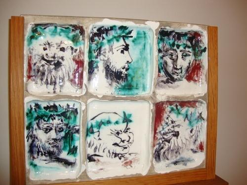'Шест мъжки глави' - керамични плочки (1956) - Пабло Пикасо