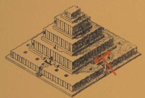 Схема на стъпаловидната пирамида  с храм (Зигурат) на върха.  В основата си пирамидата представлява квадрат с дължина на страните по 105 метра.  Изградена е на 5 нива (стъпала). Като строителен материал е използвана изсушена на слънцето глина и червеникави кирпичени тухли.