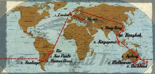 Лондон, Рио де Жанейро, Сао Пауло, водопадите Игуасу, Буенос Айрес, Мендоза, Сантиаго, Сидни, Мелбърн, Нова Зеландия, Тайланд