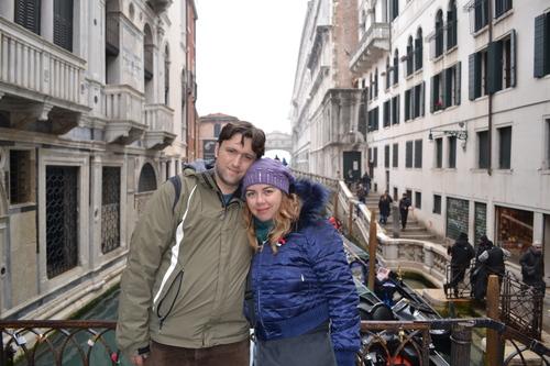 Венеция, на заден план 'мостът на въздишките'