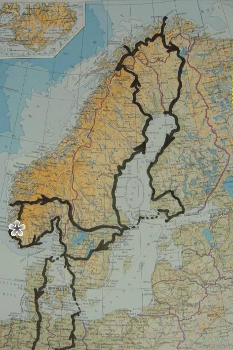 На картата на Скандинавските страни е очертан маршрута на туристическата ми обиколка.