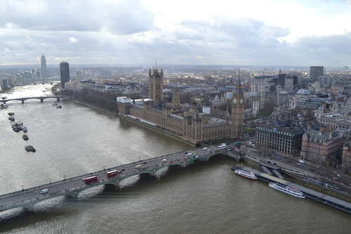 Лондон, корабчетата на Уестминстър. Зад тях Парламента. Снимано е от Окото на Лондон
