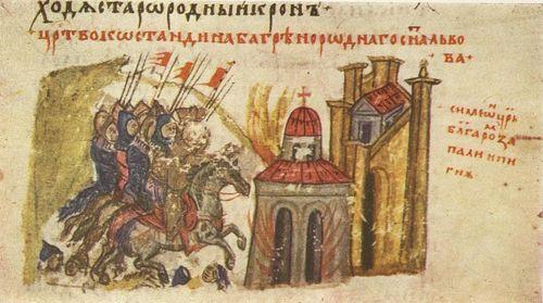 На 7 септември 924г. войнолюбивият ни цар Симеон опожарява храма на пресвета Богородица приЖивоносния източник според Манасиевата хроника.