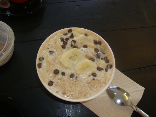 """корейски десерт с банани, кафе и натрошен лед, предлага се в кафе """"Куко"""""""