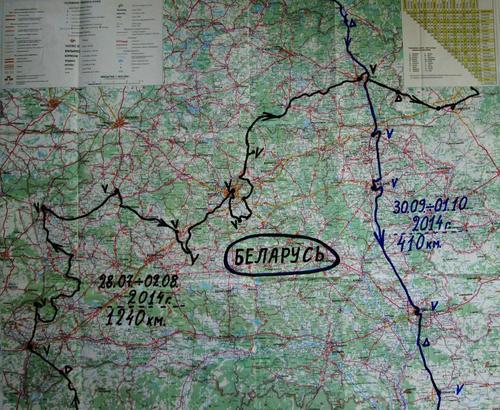 Маршрутите на движение през Беларус са очертани върху картата