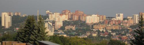 Панорамен поглед към един от новите квартали на Уфа