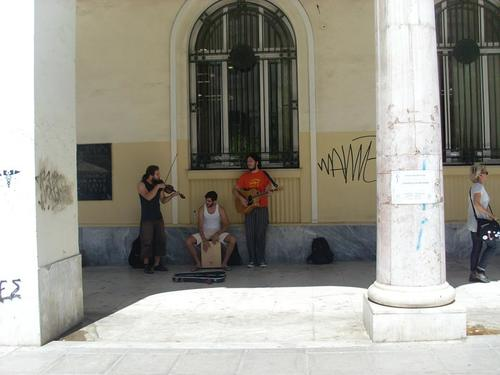 Забавни музиканти на площад Аристотел