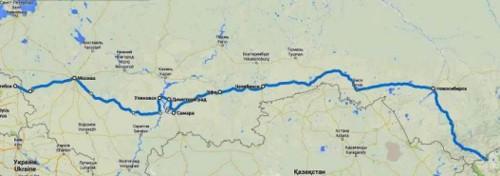 Маршрутът ми от Западна Русия до Монголия, изминат от 2-ри до 17-ти август 2014 година
