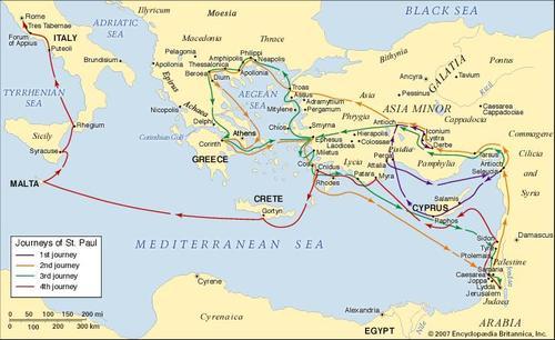 картата на мисионерските пътувания на апостол Павел