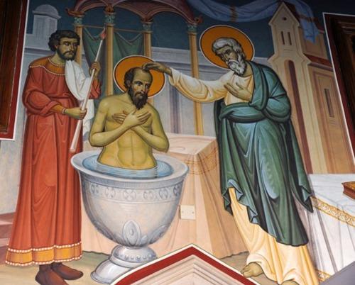Кръщението на св.Павел в дома на Юда (вляво с пешкира)