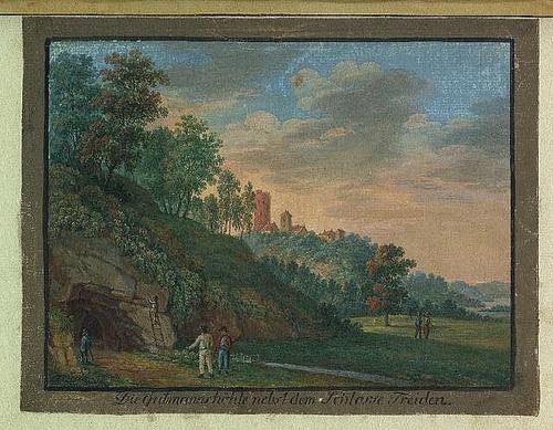 Издялкването на надписите  с имената на пътешествениците е било начин за препечелване на пари от местните според картината на Йохан Бротце от 18 век