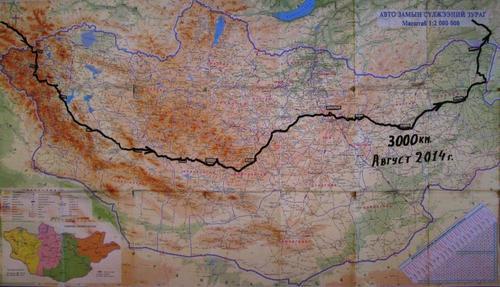 Върху картата на Монголия с черна линия е показан маршрута ми на движение