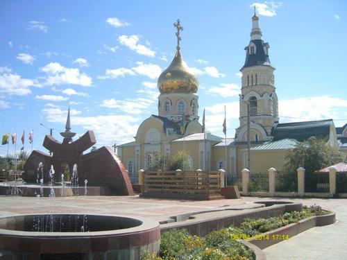 Храмът Свети Николай в центъра на Агинское