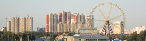 Поглед към китайският град Хейхе на следващата сутрин