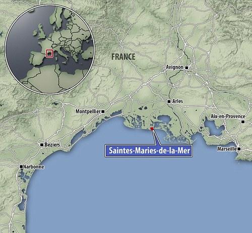 Карта с местоположението на Сент Мари-де ла-мер