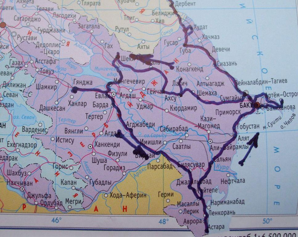 Маршрутът през Азербайджан